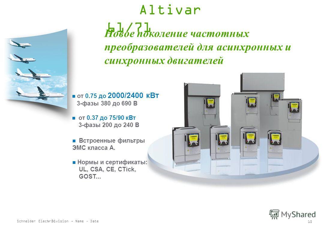 Schneider Electric 9 - Division - Name – Date IP54 UL Type 1 / IP20 Модельный ряд ATV21 Altivar 21 выпускается для двигателей мощностью от 0.75 кВт до 75 кВт 380 – 480 В 3 фазы, от 0.75 кВт до 75 кВт 200 – 240 В 3 фазы, от 0.75 кВт до 30 кВт Переходн