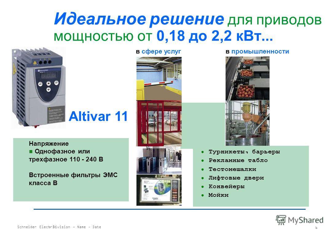 Schneider Electric 5 - Division - Name – Date 2 диапазона напряжений Q : 230 – 415 В Y : 208 – 690 В Уникальная технология TCS Пуск с функцией контроля момента Непрерывная защита двигателя Каскадный пуск Простая интеграция в АСУ ТП Поддержка протокол