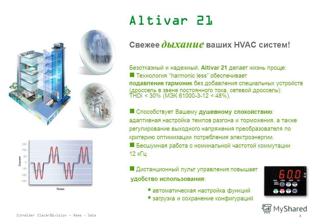 Schneider Electric 7 - Division - Name – Date Altivar 31 подъемно-транспортные механизмы Быстрее-медленнее Управление тормозом Переключение двигателей Управление по концевым выключателям Частота коммутации до 16 кГц Ограничение тока, регулирование мо