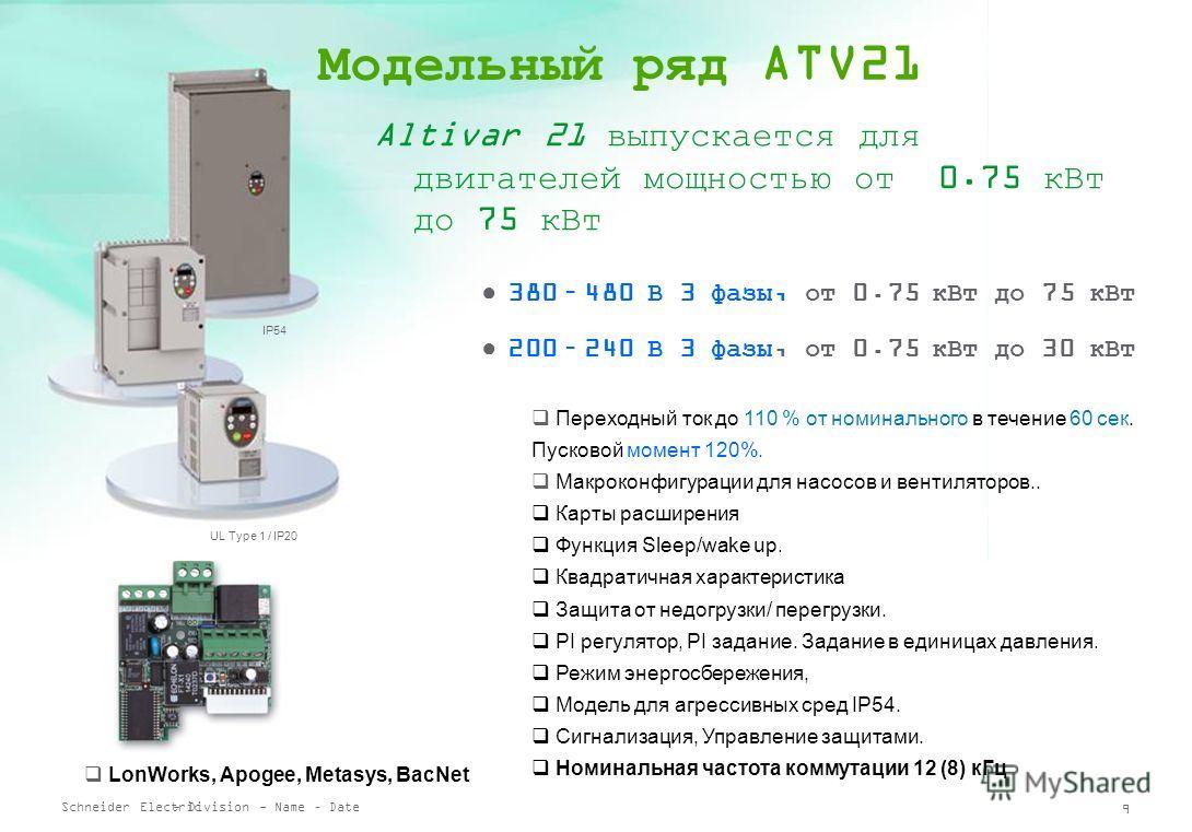 Schneider Electric 8 - Division - Name – Date Altivar 21 Свежее дыхание ваших HVAC систем! Безотказный и надежный, Altivar 21 делает жизнь проще: Технология harmonic less обеспечивает подавление гармоник без добавления специальных устройств (дроссель