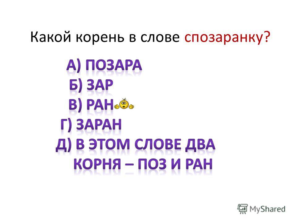 Какой корень в слове спозаранку?