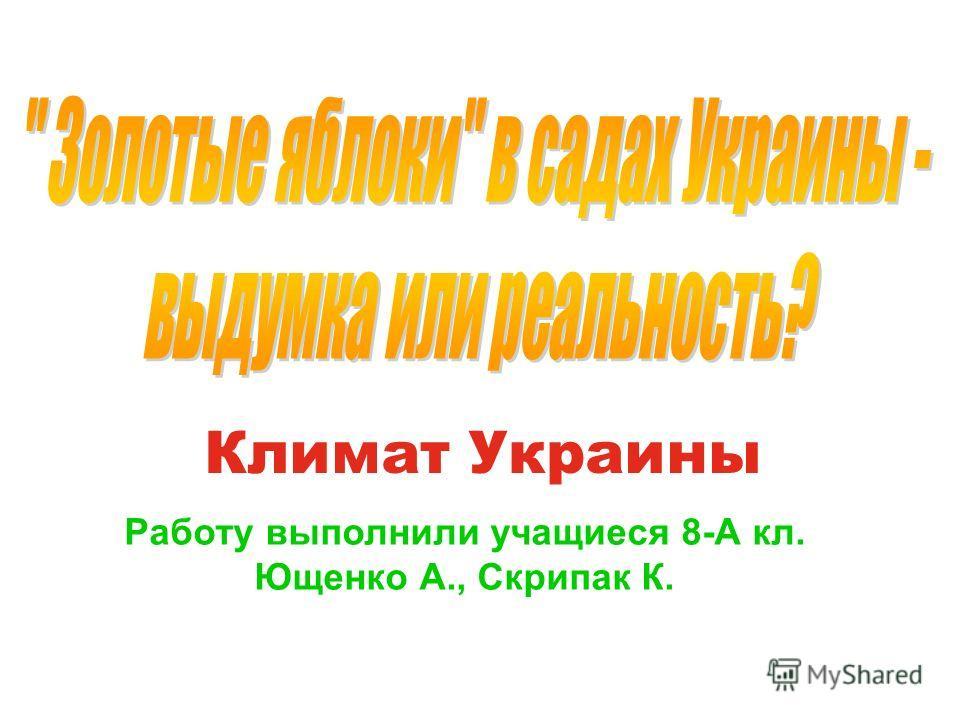 Климат Украины Работу выполнили учащиеся 8-А кл. Ющенко А., Скрипак К.