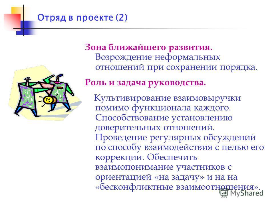 Отряд в проекте (2) Зона ближайшего развития. Возрождение неформальных отношений при сохранении порядка. Роль и задача руководства. Культивирование взаимовыручки помимо функционала каждого. Способствование установлению доверительных отношений. Провед