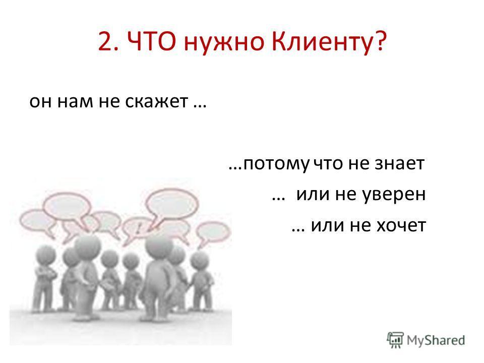 2. ЧТО нужно Клиенту? он нам не скажет … …потому что не знает … или не уверен … или не хочет