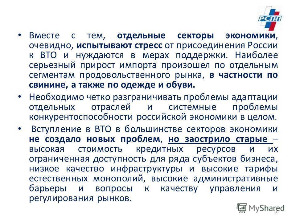 Вместе с тем, отдельные секторы экономики, очевидно, испытывают стресс от присоединения России к ВТО и нуждаются в мерах поддержки. Наиболее серьезный прирост импорта произошел по отдельным сегментам продовольственного рынка, в частности по свинине,