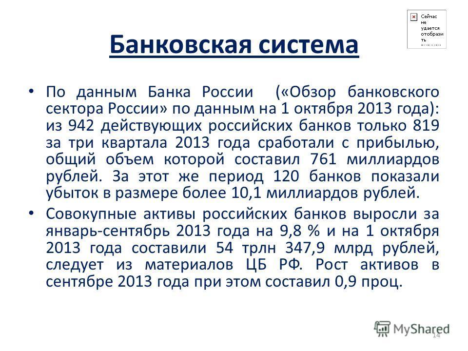 Банковская система По данным Банка России («Обзор банковского сектора России» по данным на 1 октября 2013 года): из 942 действующих российских банков только 819 за три квартала 2013 года сработали с прибылью, общий объем которой составил 761 миллиард