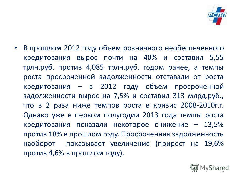 В прошлом 2012 году объем розничного необеспеченного кредитования вырос почти на 40% и составил 5,55 трлн.руб. против 4,085 трлн.руб. годом ранее, а темпы роста просроченной задолженности отставали от роста кредитования – в 2012 году объем просроченн