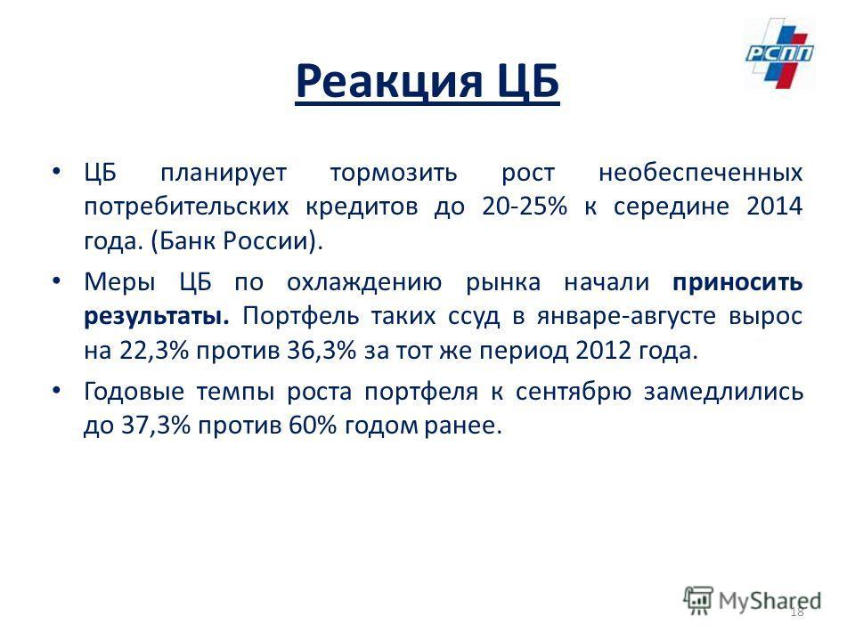 Реакция ЦБ ЦБ планирует тормозить рост необеспеченных потребительских кредитов до 20-25% к середине 2014 года. (Банк России). Меры ЦБ по охлаждению рынка начали приносить результаты. Портфель таких ссуд в январе-августе вырос на 22,3% против 36,3% за