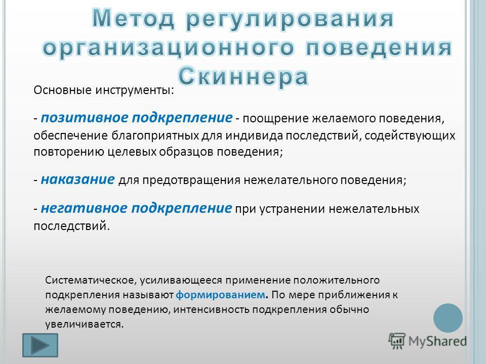 Основные инструменты: - позитивное подкрепление - поощрение желаемого поведения, обеспечение благоприятных для индивида последствий, содействующих повторению целевых образцов поведения; - наказание для предотвращения нежелательного поведения; - негат