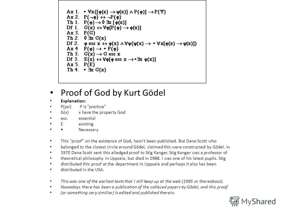 Proof of God by Kurt Gödel Explanation: P(psi) P is