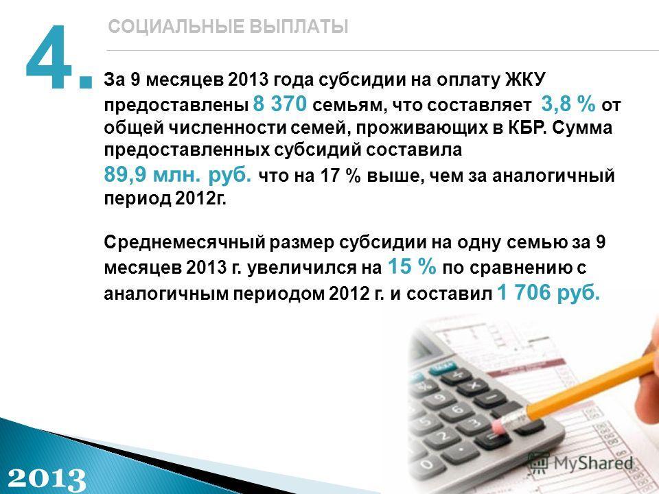 За 9 месяцев 2013 года субсидии на оплату ЖКУ предоставлены 8 370 семьям, что составляет 3,8 % от общей численности семей, проживающих в КБР. Сумма предоставленных субсидий составила 89,9 млн. руб. что на 17 % выше, чем за аналогичный период 2012г. С