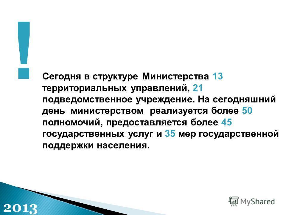 Сегодня в структуре Министерства 13 территориальных управлений, 21 подведомственное учреждение. На сегодняшний день министерством реализуется более 50 полномочий, предоставляется более 45 государственных услуг и 35 мер государственной поддержки насел