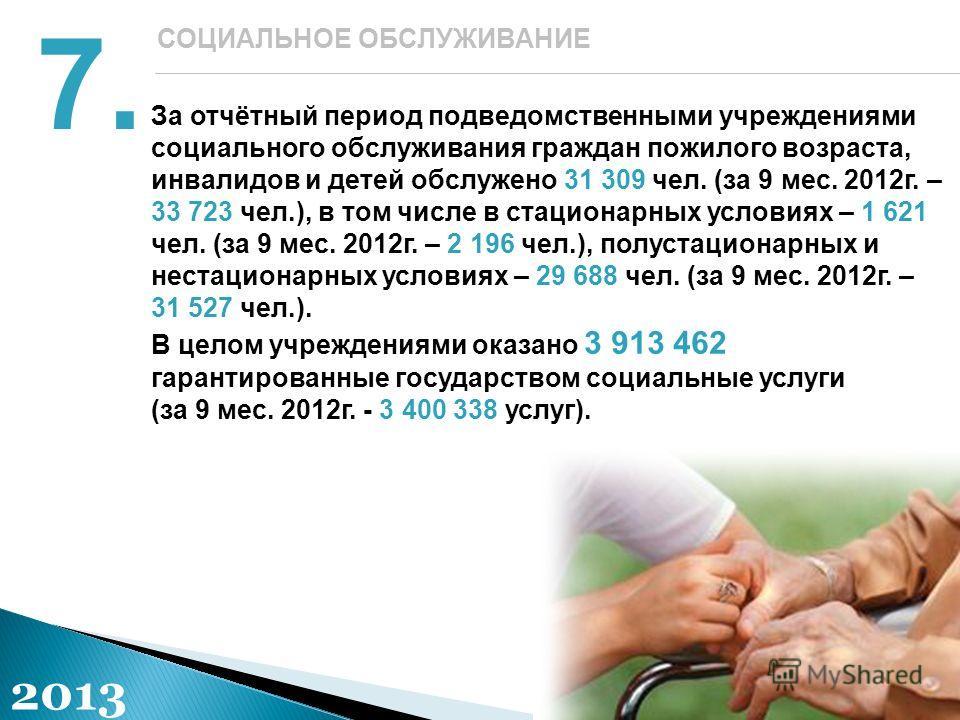 За отчётный период подведомственными учреждениями социального обслуживания граждан пожилого возраста, инвалидов и детей обслужено 31 309 чел. (за 9 мес. 2012г. – 33 723 чел.), в том числе в стационарных условиях – 1 621 чел. (за 9 мес. 2012г. – 2 196
