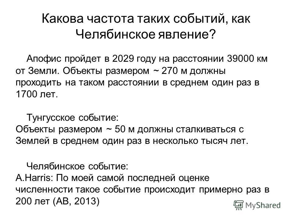 Какова частота таких событий, как Челябинское явление? Апофис пройдет в 2029 году на расстоянии 39000 км от Земли. Объекты размером ~ 270 м должны проходить на таком расстоянии в среднем один раз в 1700 лет. Тунгусское событие: Объекты размером ~ 50