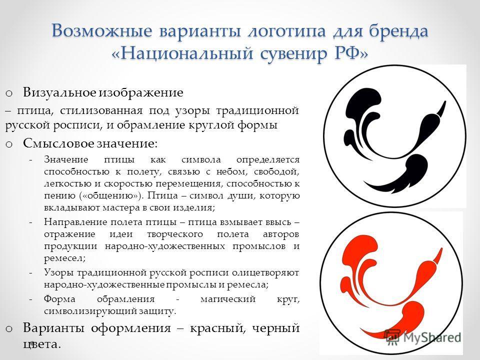 Возможные варианты логотипа для бренда «Национальный сувенир РФ» o Визуальное изображение – птица, стилизованная под узоры традиционной русской росписи, и обрамление круглой формы o Смысловое значение: -Значение птицы как символа определяется способн