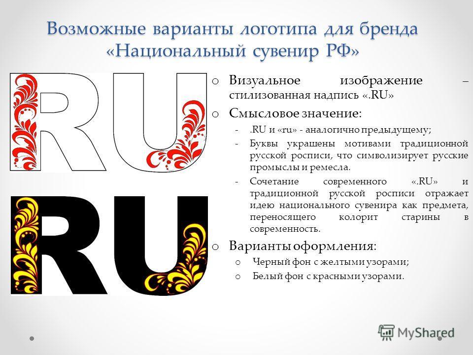 Возможные варианты логотипа для бренда «Национальный сувенир РФ» o Визуальное изображение – стилизованная надпись «.RU» o Смысловое значение: -.RU и «ru» - аналогично предыдущему; -Буквы украшены мотивами традиционной русской росписи, что символизиру