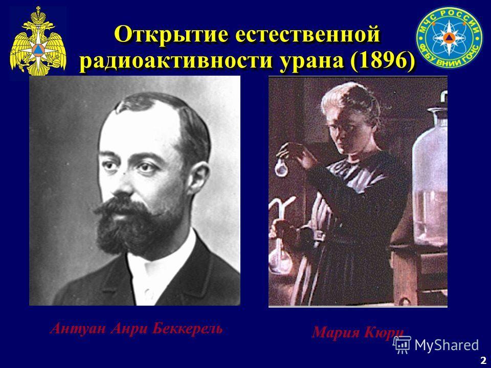 2 Антуан Анри Беккерель Мария Кюри Открытие естественной радиоактивности урана (1896)