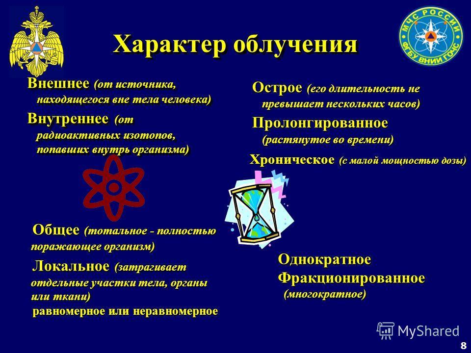 8 Характер облучения Внешнее (от источника, находящегося вне тела человека) Внешнее (от источника, находящегося вне тела человека) Внутреннее (от радиоактивных изотопов, попавших внутрь организма) Внутреннее (от радиоактивных изотопов, попавших внутр
