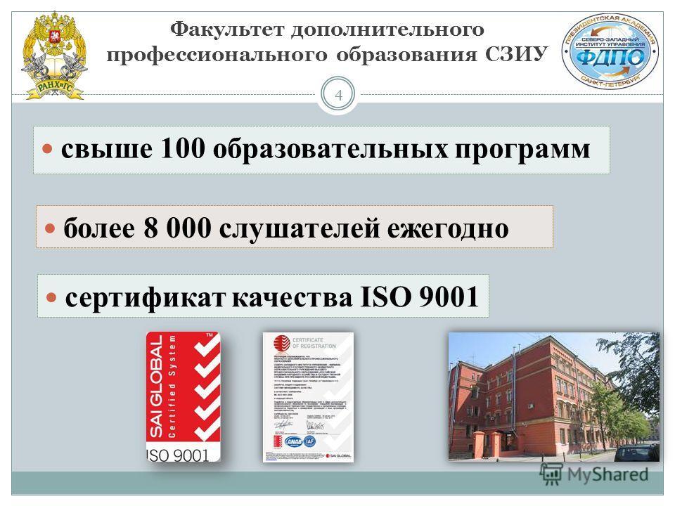 4 Факультет дополнительного профессионального образования СЗИУ свыше 100 образовательных программ более 8 000 слушателей ежегодно сертификат качества ISO 9001