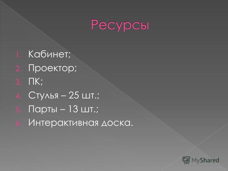 1. Кабинет; 2. Проектор; 3. ПК; 4. Стулья – 25 шт.; 5. Парты – 13 шт.; 6. Интерактивная доска.