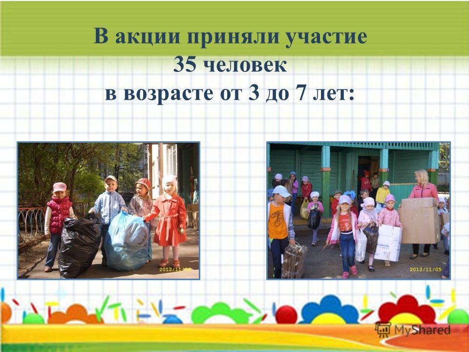 В акции приняли участие 35 человек в возрасте от 3 до 7 лет: