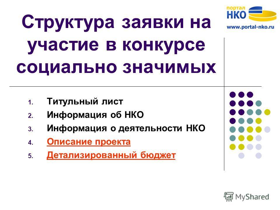Структура заявки на участие в конкурсе социально значимых 1. Титульный лист 2. Информация об НКО 3. Информация о деятельности НКО 4. Описание проекта 5. Детализированный бюджет