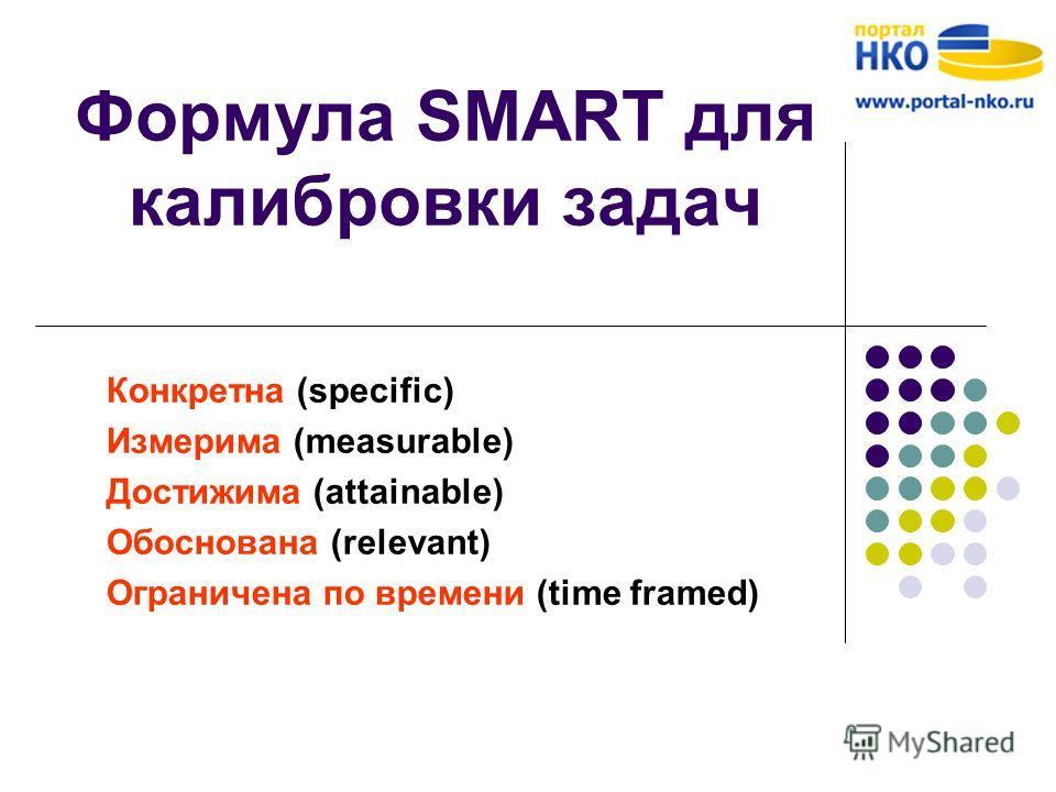 Формула SMART для калибровки задач Конкретна (specific) Измерима (measurable) Достижима (attainable) Обоснована (relevant) Ограничена по времени (time framed)