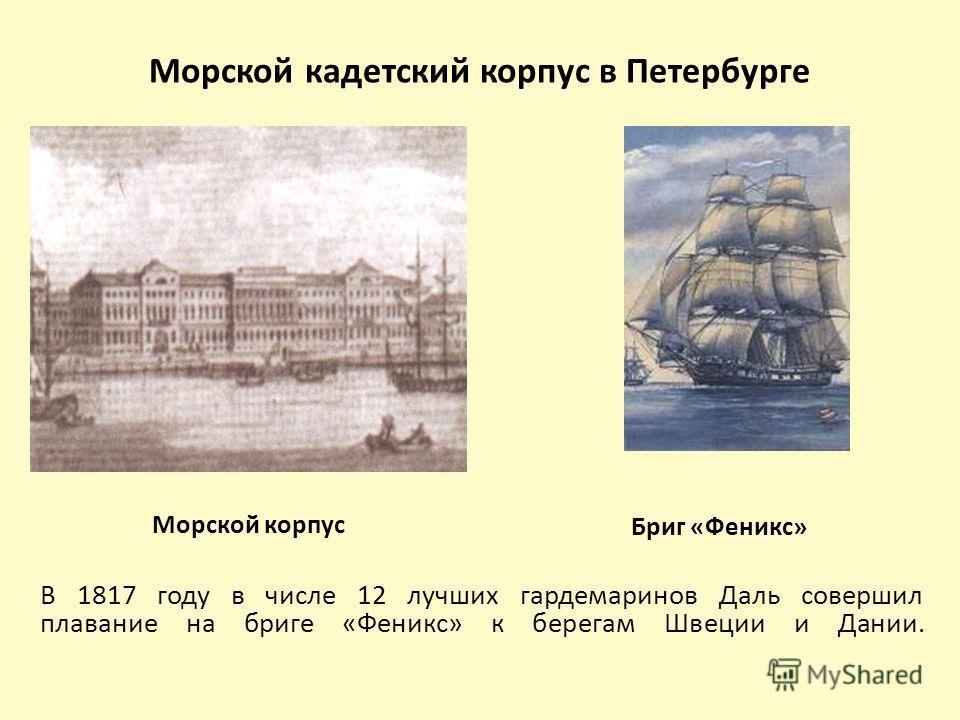 Морской кадетский корпус в Петербурге Морской корпус В 1817 году в числе 12 лучших гардемаринов Даль совершил плавание на бриге «Феникс» к берегам Швеции и Дании. Бриг «Феникс»