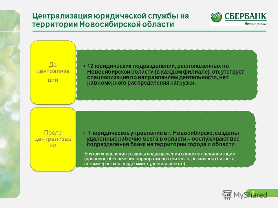 3 Централизация юридической службы на территории Новосибирской области 12 юридических подразделений, расположенных по Новосибирской области (в каждом филиале), отсутствует специализация по направлениям деятельности, нет равномерного распределения наг