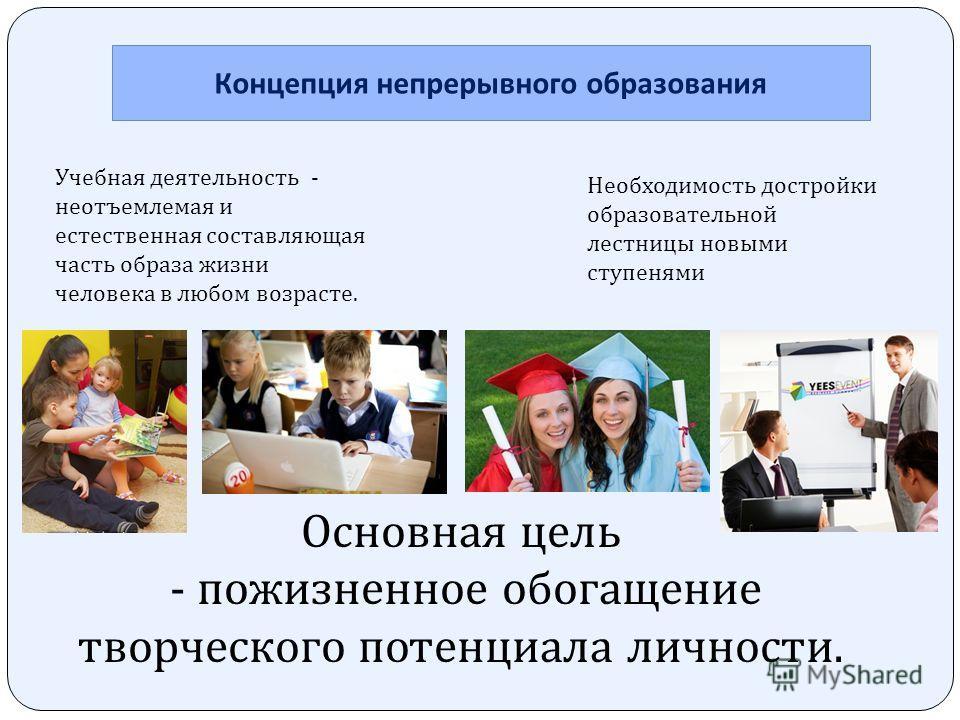 Концепция непрерывного образования Учебная деятельность - неотъемлемая и естественная составляющая часть образа жизни человека в любом возрасте. Необходимость достройки образовательной лестницы новыми ступенями Основная цель - пожизненное обогащение