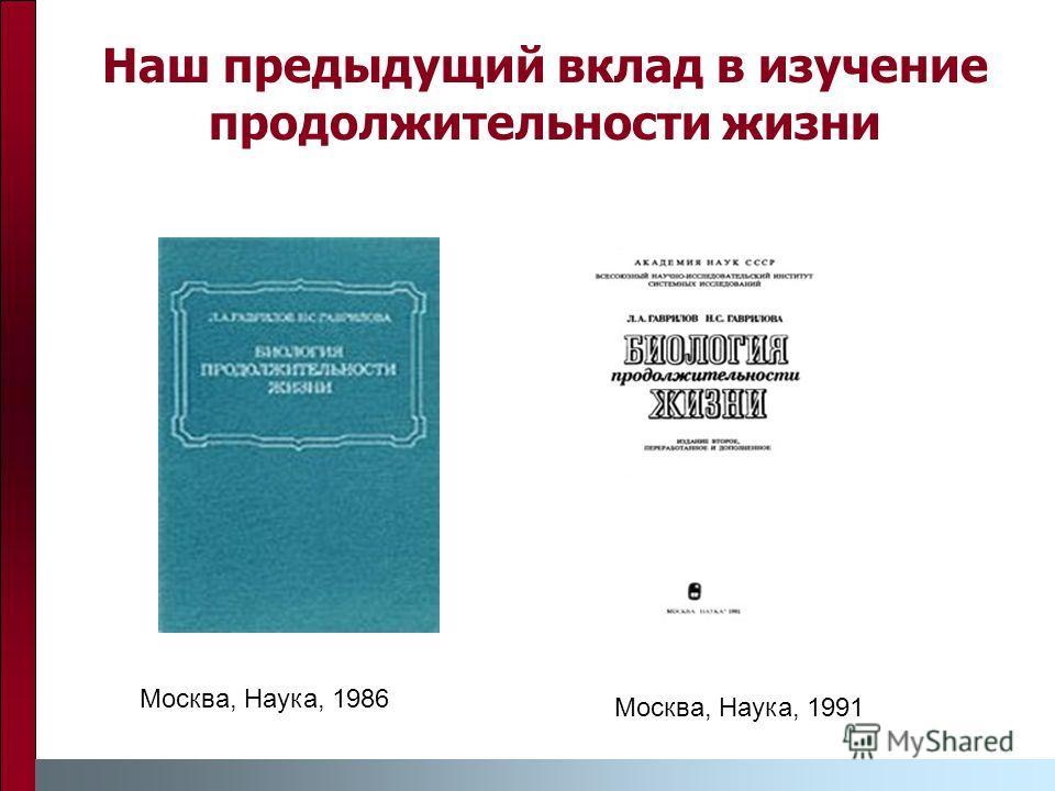 Наш предыдущий вклад в изучение продолжительности жизни Москва, Наука, 1986 Москва, Наука, 1991