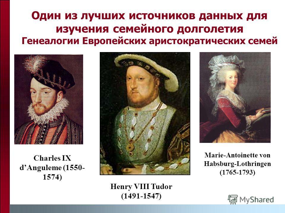 Один из лучших источников данных для изучения семейного долголетия Генеалогии Европейских аристократических семей Charles IX dAnguleme (1550- 1574) Henry VIII Tudor (1491-1547) Marie-Antoinette von Habsburg-Lothringen (1765-1793)