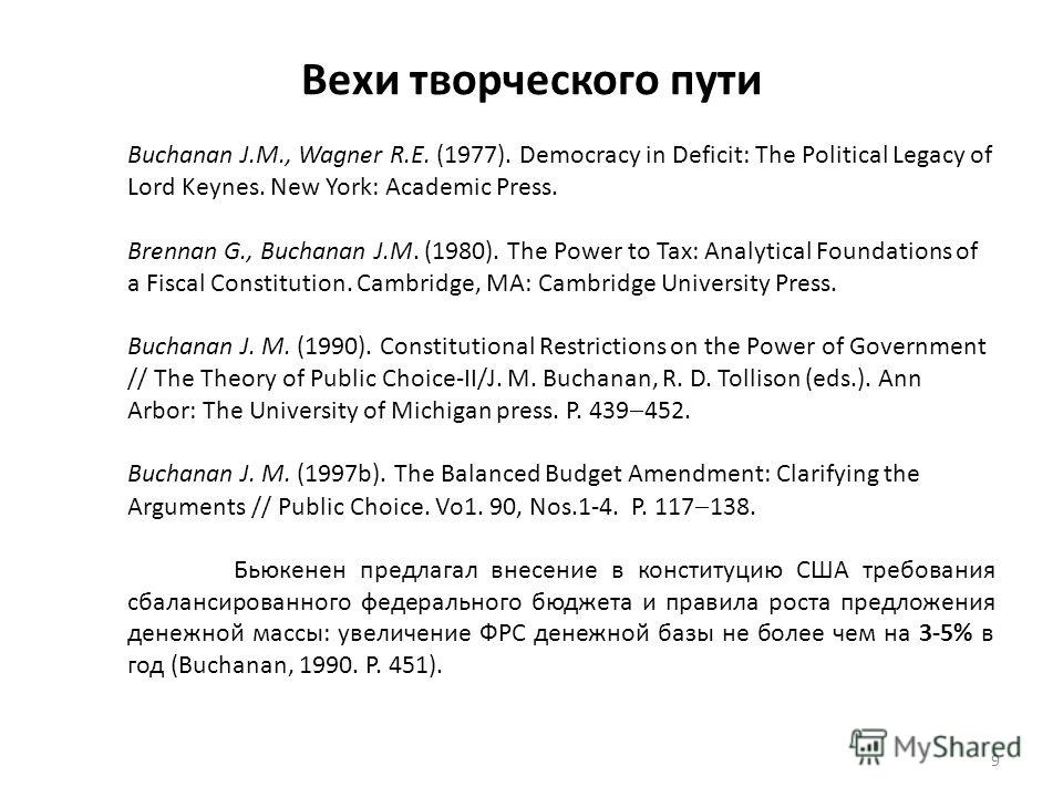 Вехи творческого пути 9 Buchanan J.M., Wagner R.E. (1977). Democracy in Deficit: The Political Legacy of Lord Keynes. New York: Academic Press. Brennan G., Buchanan J.M. (1980). The Power to Tax: Analytical Foundations of a Fiscal Constitution. Cambr