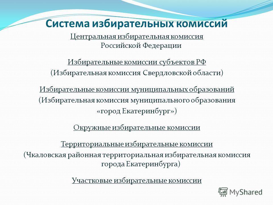 Система избирательных комиссий Центральная избирательная комиссия Российской Федерации Избирательные комиссии субъектов РФ (Избирательная комиссия Свердловской области) Избирательные комиссии муниципальных образований (Избирательная комиссия муниципа