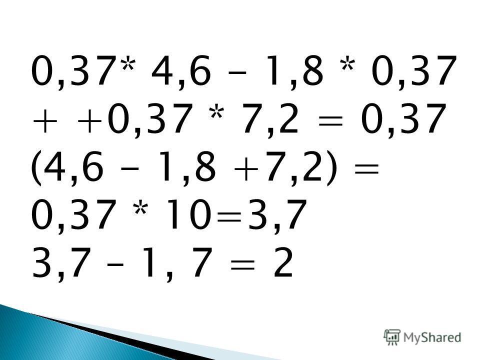 0,37* 4,6 - 1,8 * 0,37 + +0,37 * 7,2 = 0,37 (4,6 - 1,8 +7,2) = 0,37 * 10=3,7 3,7 – 1, 7 = 2