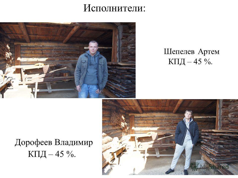 Исполнители: Шепелев Артем КПД – 45 %. Дорофеев Владимир КПД – 45 %.