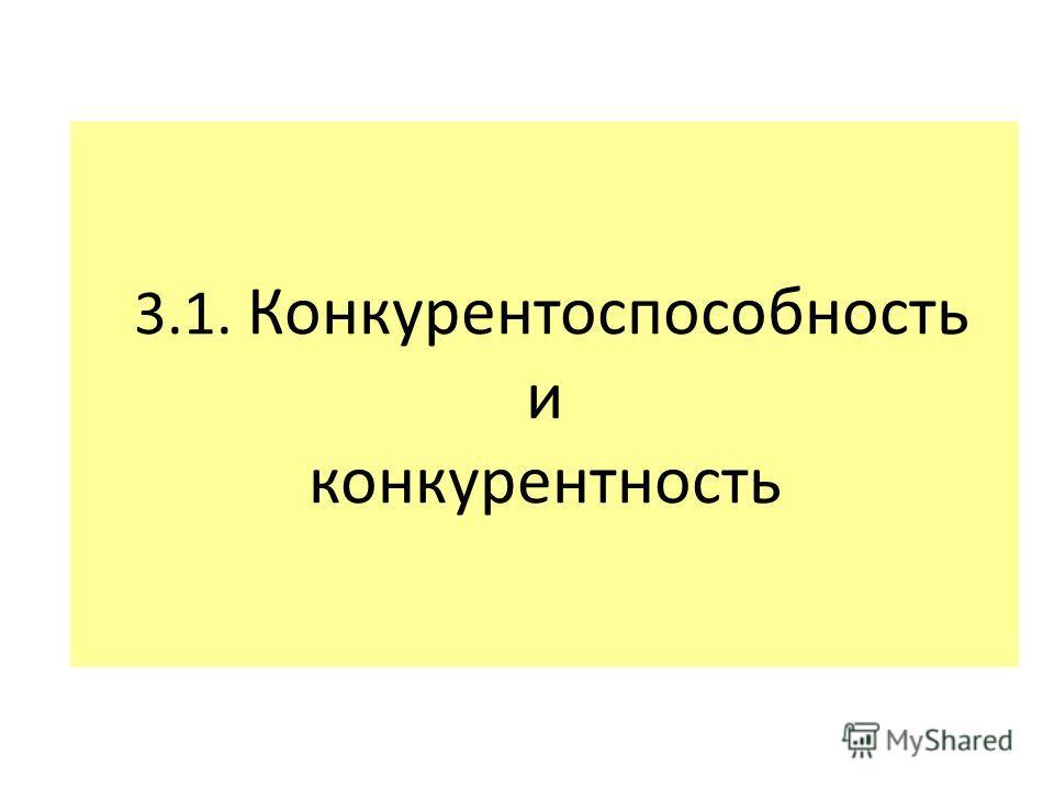 3.1. Конкурентоспособность и конкурентность