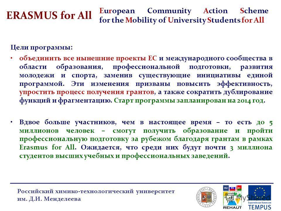 ERASMUS for All Российский химико-технологический университет им. Д.И. Менделеева Цели программы: объединить все нынешние проекты ЕС и международного сообщества в области образования, профессиональной подготовки, развития молодежи и спорта, заменив с