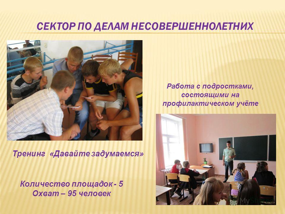Количество площадок - 5 Охват – 95 человек Тренинг «Давайте задумаемся» Работа с подростками, состоящими на профилактическом учёте