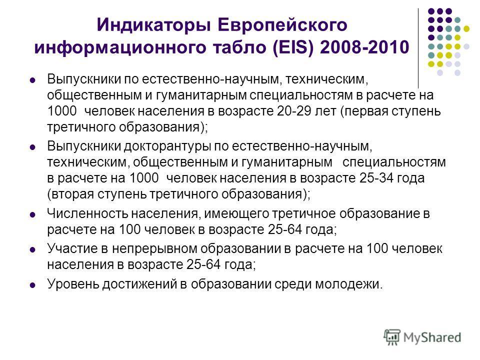 Индикаторы Европейского информационного табло (EIS) 2008-2010 Выпускники по естественно-научным, техническим, общественным и гуманитарным специальностям в расчете на 1000 человек населения в возрасте 20-29 лет (первая ступень третичного образования);