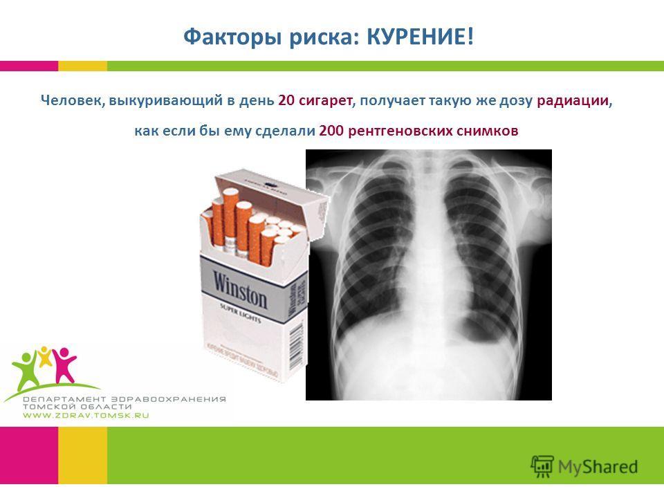 Факторы риска: КУРЕНИЕ! Человек, выкуривающий в день 20 сигарет, получает такую же дозу радиации, как если бы ему сделали 200 рентгеновских снимков