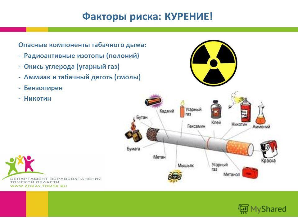 Факторы риска: КУРЕНИЕ! Опасные компоненты табачного дыма: - Радиоактивные изотопы (полоний) - Окись углерода (угарный газ) - Аммиак и табачный деготь (смолы) - Бензопирен - Никотин