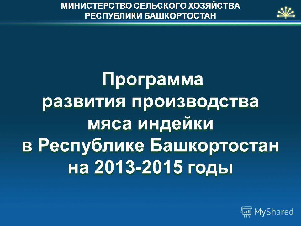 Программа развития производства мяса индейки в Республике Башкортостан на 2013-2015 годы МИНИСТЕРСТВО СЕЛЬСКОГО ХОЗЯЙСТВА РЕСПУБЛИКИ БАШКОРТОСТАН