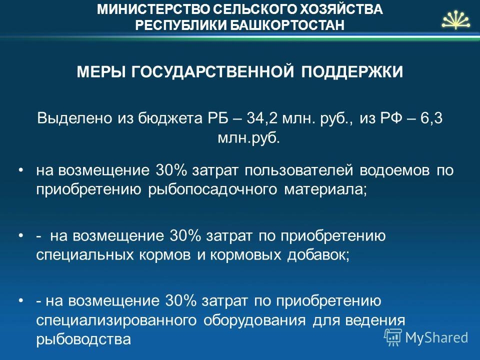 МЕРЫ ГОСУДАРСТВЕННОЙ ПОДДЕРЖКИ Выделено из бюджета РБ – 34,2 млн. руб., из РФ – 6,3 млн.руб. на возмещение 30% затрат пользователей водоемов по приобретению рыбопосадочного материала; - на возмещение 30% затрат по приобретению специальных кормов и ко