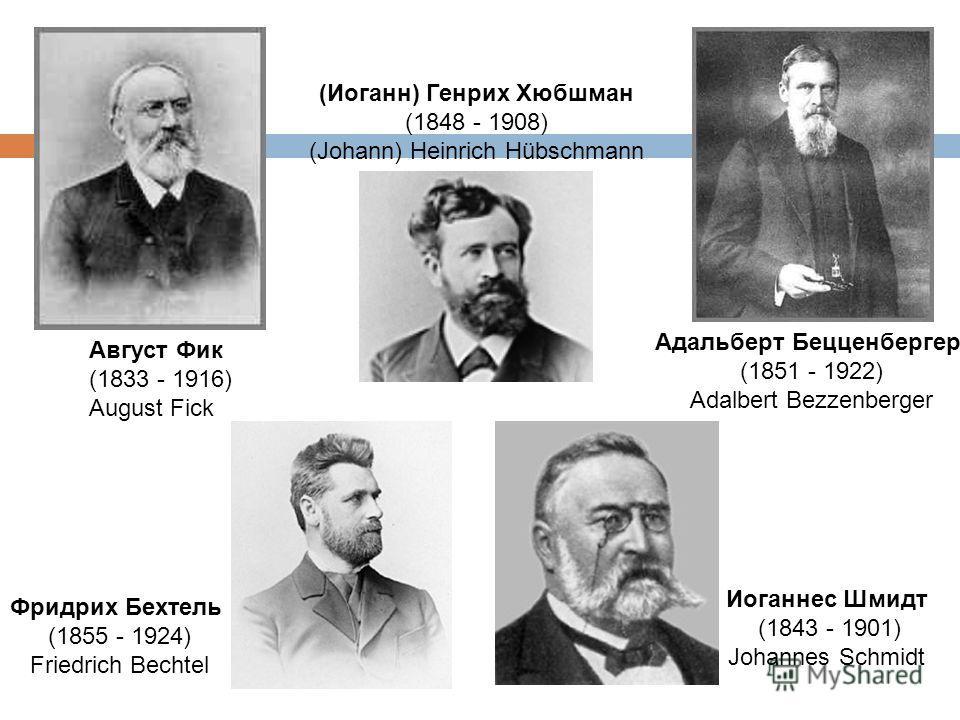 (Иоганн) Генрих Хюбшман (1848 - 1908) (Johann) Heinrich Hübschmann Август Фик (1833 - 1916) August Fick Фридрих Бехтель (1855 - 1924) Friedrich Bechtel Адальберт Бецценбергер (1851 - 1922) Adalbert Bezzenberger Иоганнес Шмидт (1843 - 1901) Johannes S