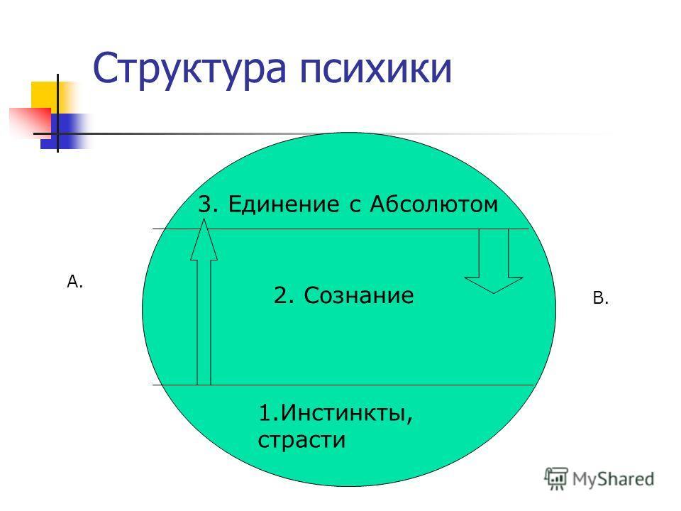 Структура психики 1.Инстинкты, страсти 2. Сознание 3. Единение с Абсолютом А. В.