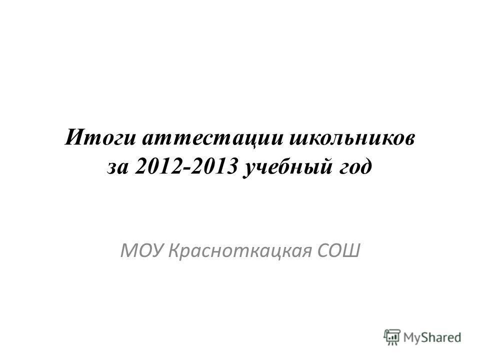 Итоги аттестации школьников за 2012-2013 учебный год МОУ Красноткацкая СОШ