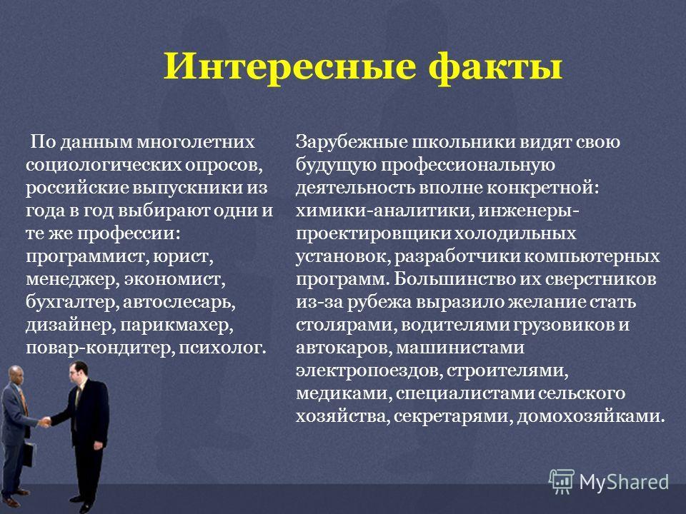 Интересные факты По данным многолетних социологических опросов, российские выпускники из года в год выбирают одни и те же профессии: программист, юрист, менеджер, экономист, бухгалтер, автослесарь, дизайнер, парикмахер, повар-кондитер, психолог. Зару