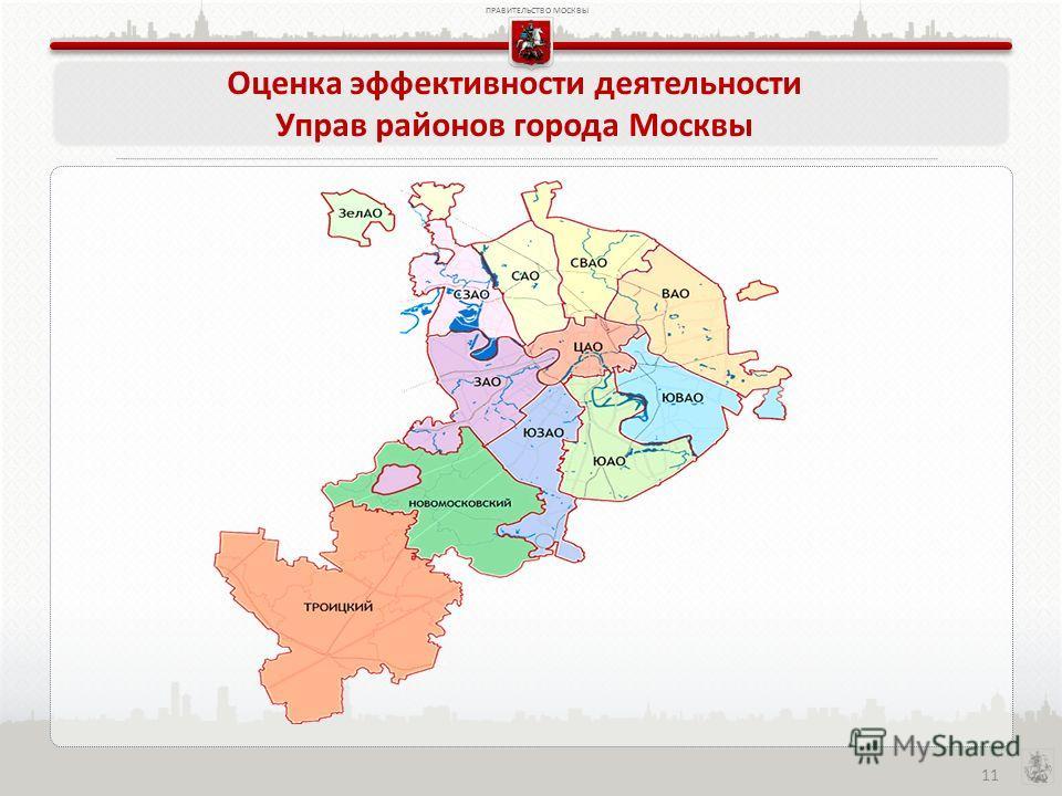 ПРАВИТЕЛЬСТВО МОСКВЫ 11 Оценка эффективности деятельности Управ районов города Москвы