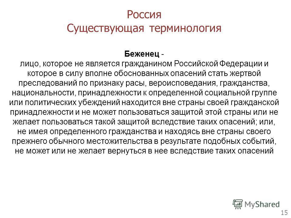 15 Беженец - лицо, которое не является гражданином Российской Федерации и которое в силу вполне обоснованных опасений стать жертвой преследований по признаку расы, вероисповедания, гражданства, национальности, принадлежности к определенной социальной